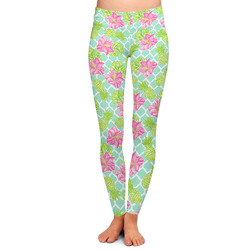 Preppy Hibiscus Ladies Leggings (Personalized)