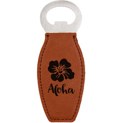 Preppy Hibiscus Leatherette Bottle Opener (Personalized)