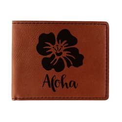 Preppy Hibiscus Leatherette Bifold Wallet - Double Sided (Personalized)