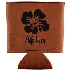 Preppy Hibiscus Leatherette Can Sleeve (Personalized)
