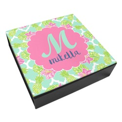 Preppy Hibiscus Leatherette Keepsake Box - 8x8 (Personalized)