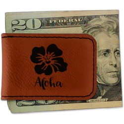 Preppy Hibiscus Leatherette Magnetic Money Clip (Personalized)