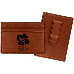 Preppy Hibiscus Leatherette Wallet with Money Clip (Personalized)