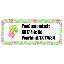 Preppy Hibiscus Return Address Labels (Personalized)