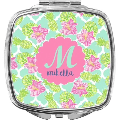 Preppy Hibiscus Compact Makeup Mirror (Personalized)