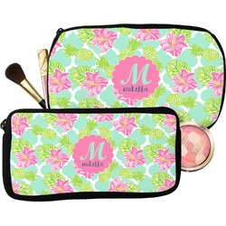 Preppy Hibiscus Makeup / Cosmetic Bag (Personalized)