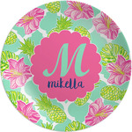 Preppy Hibiscus Melamine Plate (Personalized)