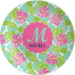 Preppy Hibiscus Melamine Plate (Personalized)