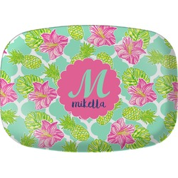Preppy Hibiscus Melamine Platter (Personalized)