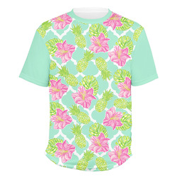Preppy Hibiscus Men's Crew T-Shirt (Personalized)