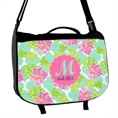 Preppy Hibiscus Messenger Bag (Personalized)