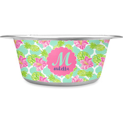 Preppy Hibiscus Stainless Steel Dog Bowl (Personalized)