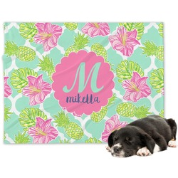 Preppy Hibiscus Dog Blanket (Personalized)