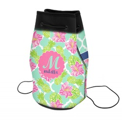 Preppy Hibiscus Neoprene Drawstring Backpack (Personalized)