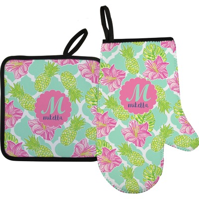 Preppy Hibiscus Right Oven Mitt & Pot Holder Set w/ Name and Initial