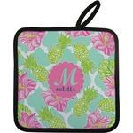 Preppy Hibiscus Pot Holder w/ Name and Initial