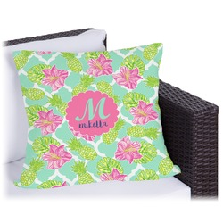 Preppy Hibiscus Outdoor Pillow (Personalized)