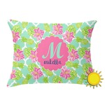 Preppy Hibiscus Outdoor Throw Pillow (Rectangular) (Personalized)