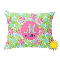 Preppy Hibiscus Outdoor Throw Pillow (Rectangular) (Personalized)