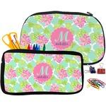 Preppy Hibiscus Pencil / School Supplies Bag (Personalized)