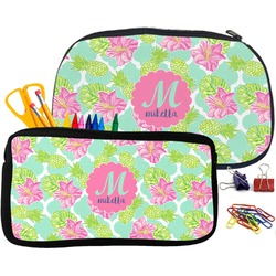 Preppy Hibiscus Neoprene Pencil Case (Personalized)