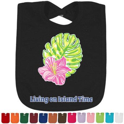 Preppy Hibiscus Baby Bib - 14 Bib Colors (Personalized)