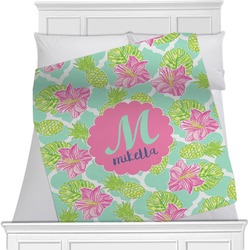 Preppy Hibiscus Minky Blanket (Personalized)