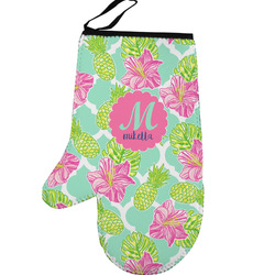 Preppy Hibiscus Left Oven Mitt (Personalized)