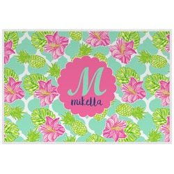 Preppy Hibiscus Laminated Placemat w/ Name and Initial