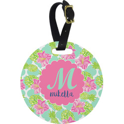 Preppy Hibiscus Round Luggage Tag (Personalized)