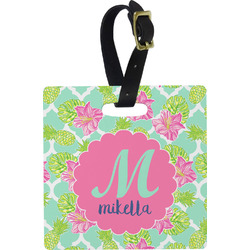 Preppy Hibiscus Luggage Tags (Personalized)