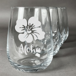 Preppy Hibiscus Wine Glasses (Stemless- Set of 4) (Personalized)