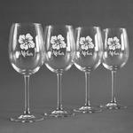 Preppy Hibiscus Wine Glasses (Set of 4) (Personalized)