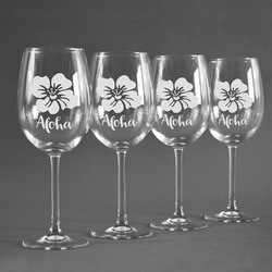 Preppy Hibiscus Wineglasses (Set of 4) (Personalized)