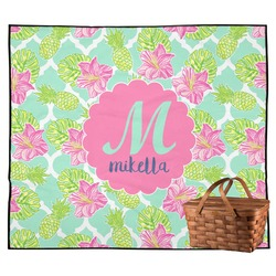 Preppy Hibiscus Outdoor Picnic Blanket (Personalized)