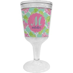 Preppy Hibiscus Wine Tumbler - 11 oz Plastic (Personalized)
