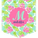Preppy Hibiscus Iron On Faux Pocket (Personalized)