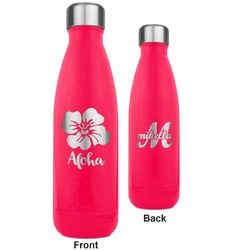 Preppy Hibiscus RTIC Bottle - 17 oz. Pink - Engraved Front & Back (Personalized)