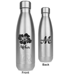 Preppy Hibiscus RTIC Bottle - Silver - Engraved Front & Back (Personalized)