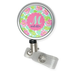 Preppy Hibiscus Retractable Badge Reel (Personalized)