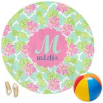 Preppy Hibiscus Round Beach Towel (Personalized)
