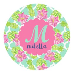 Preppy Hibiscus Round Decal (Personalized)