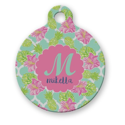 Preppy Hibiscus Round Pet Tag (Personalized)