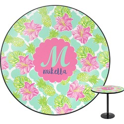 Preppy Hibiscus Round Table (Personalized)