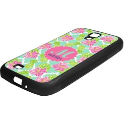 Preppy Hibiscus Rubber Samsung Galaxy 4 Phone Case (Personalized)