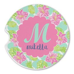 Preppy Hibiscus Sandstone Car Coasters (Personalized)
