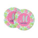 Preppy Hibiscus Sandstone Car Coasters (Personalized)