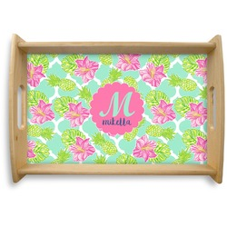 Preppy Hibiscus Natural Wooden Tray (Personalized)