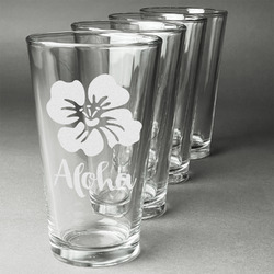 Preppy Hibiscus Beer Glasses (Set of 4) (Personalized)