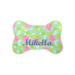 Preppy Hibiscus Bone Shaped Dog Food Mat (Small) (Personalized)
